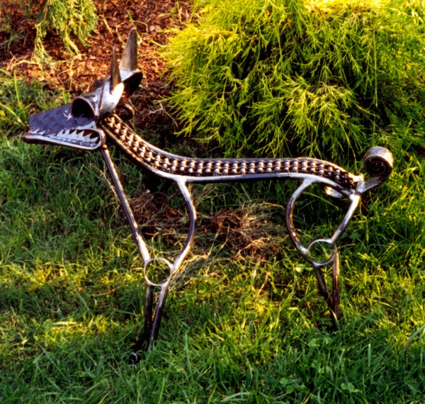 Dog sculpture- fabricated and found objects